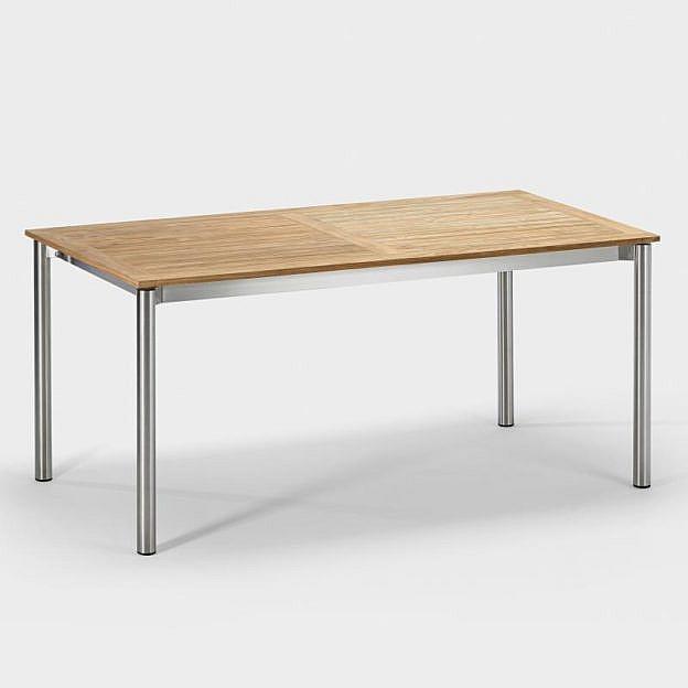 Gartentisch aus Edelstahl und Teakholz, Rundrohr