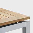 Gartentisch aus Edelstahl und Teakholz, Vierkantrohr