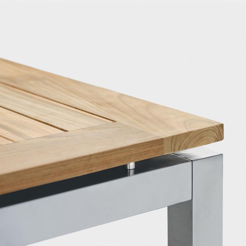 Gartentisch aus Edelstahl und Recycling-Teakholz - Biber.com