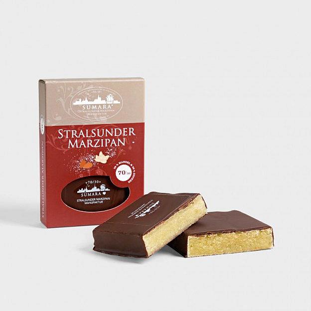 Marzipantafel mit Zartbitterschokolade