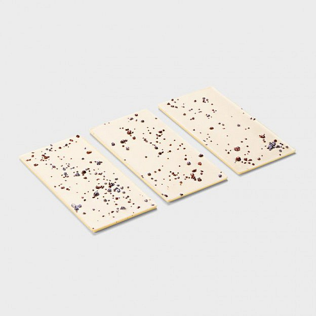 Handgeschöpfte weiße Prickelbrause-Schokoladen, 3er-Set