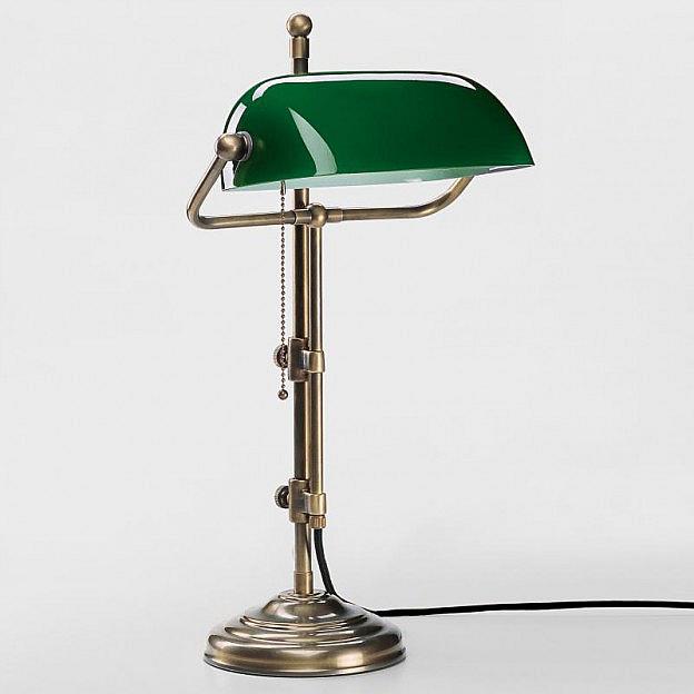 Schreibtischleuchte Messing, grün