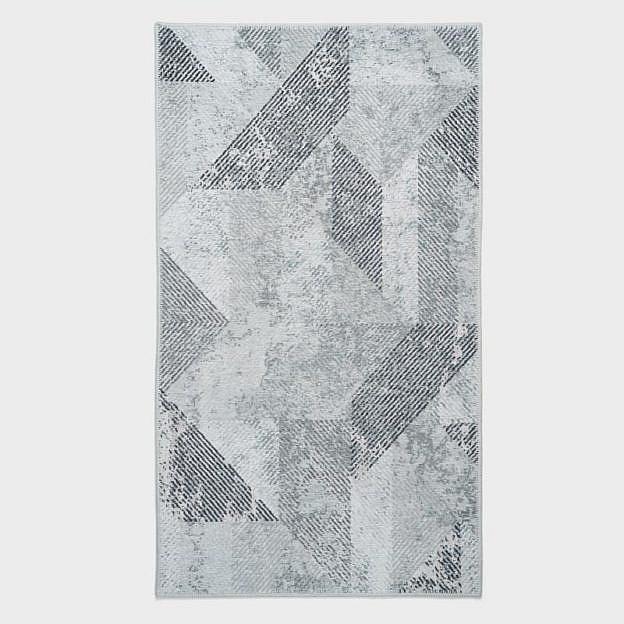 Vintage-Teppich geometrisch, grau, 85 x 150 cm