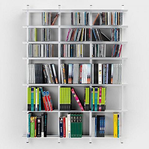 Bücher/DVD-Wandregal Aluminium - Biber.com