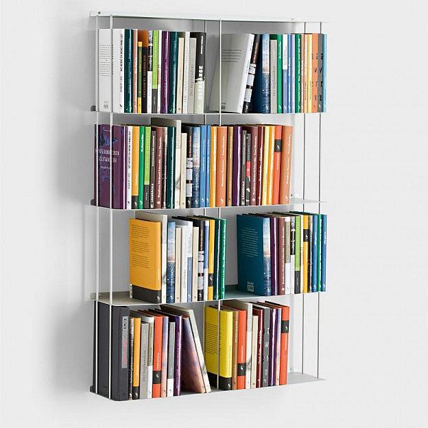 Wandbücherregal 67 x 100 cm, Alu