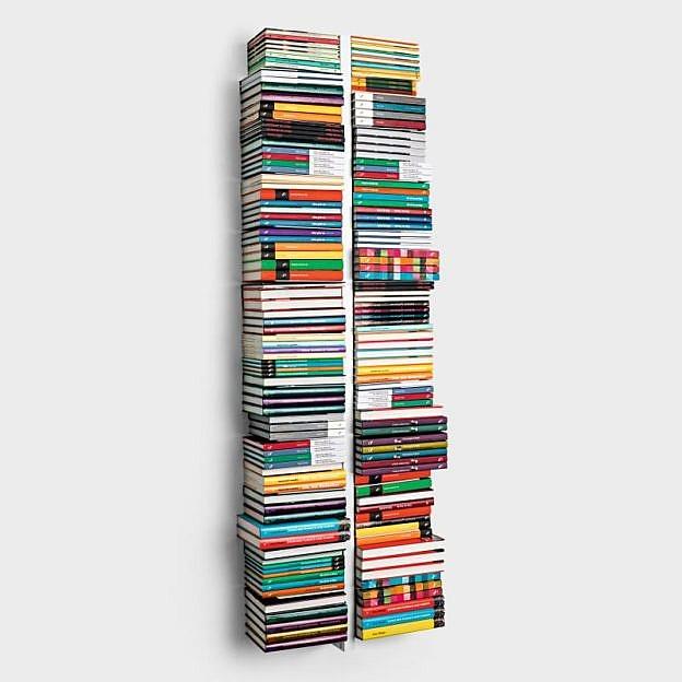 Schwebender Doppel-Bücherturm Stahl, 166 cm