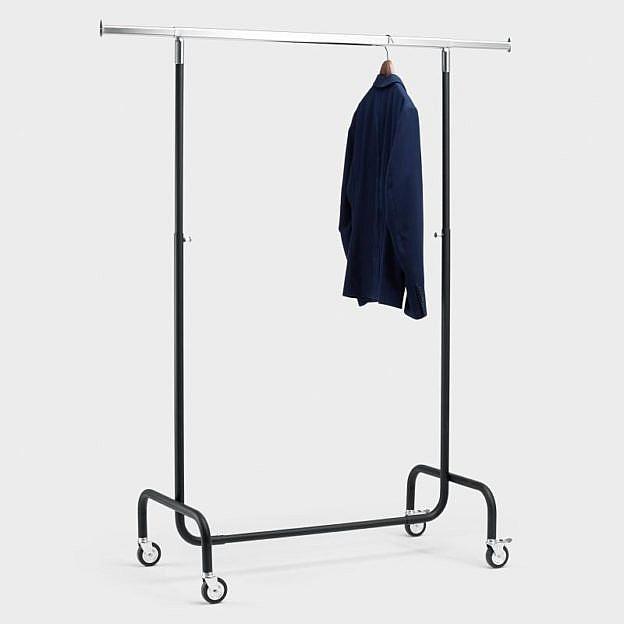 Mobiler Kleiderständer Stahl, schwarz