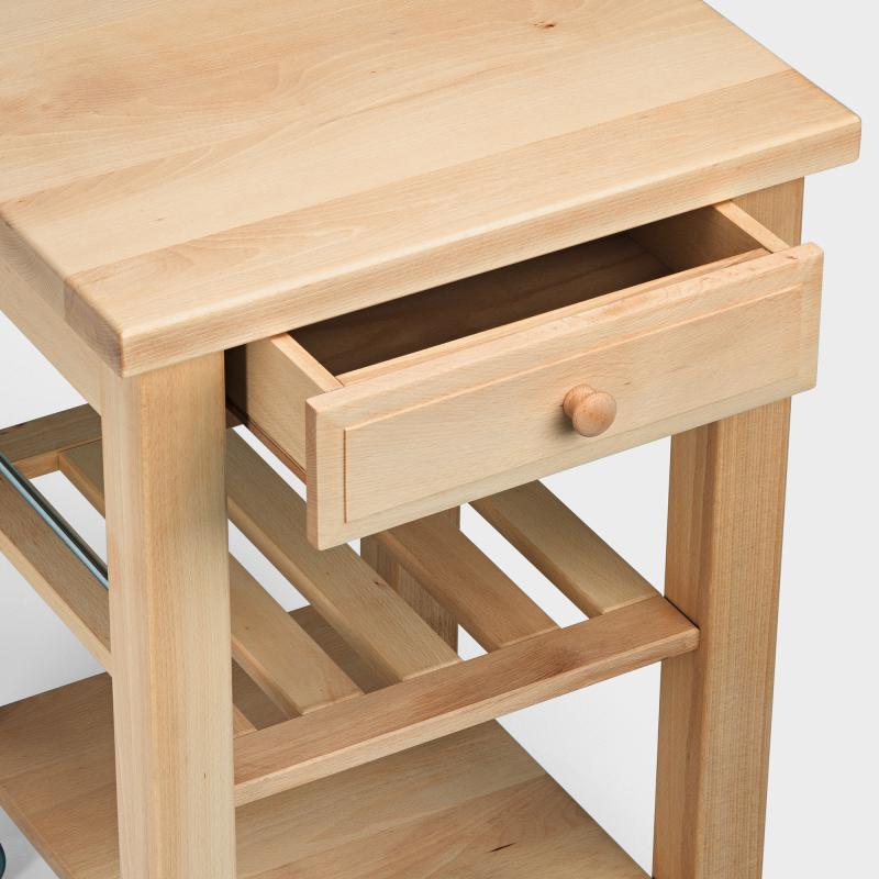 Küchenwagen aus Holz mit Weidenkorb - Biber.com | {Küchenwagen schmal 9}