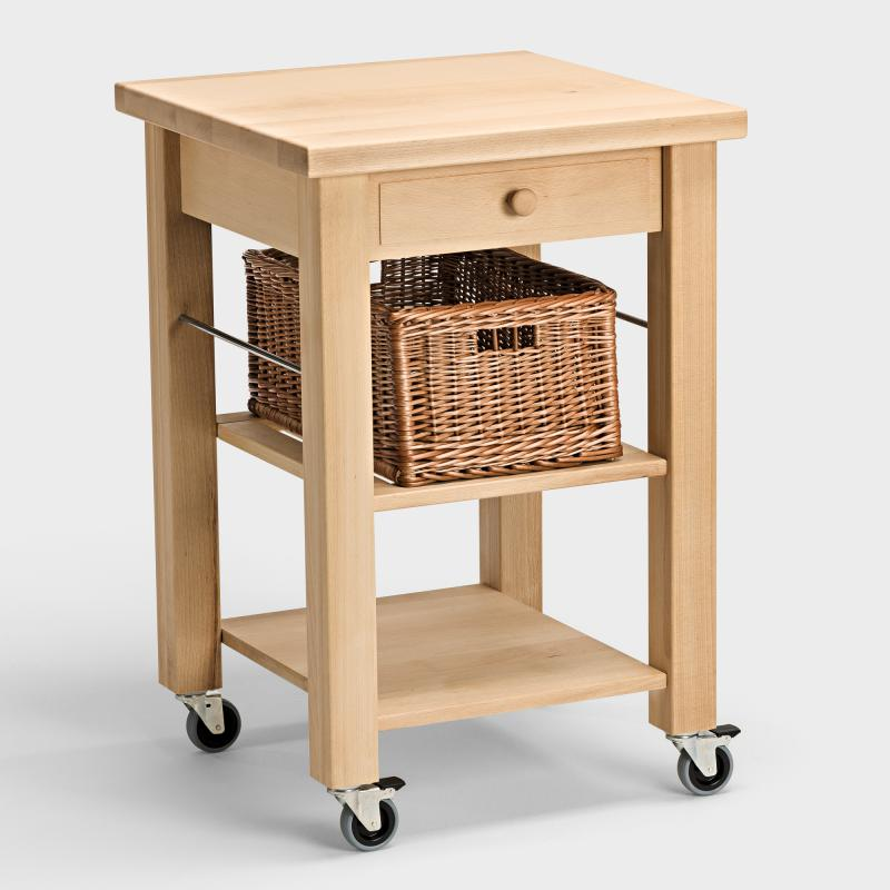 Küchenwagen aus Holz mit Weidenkorb - Biber.com | {Küchenwagen schmal 1}