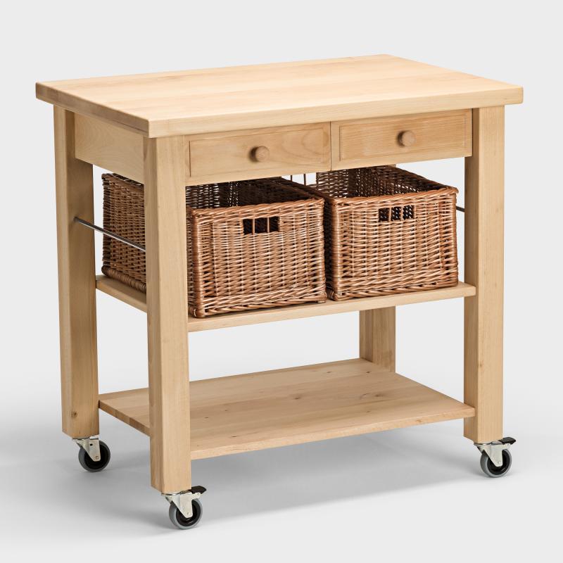 Küchenwagen mit 2 Weidenkörben aus Buchen-Holz - Biber.com