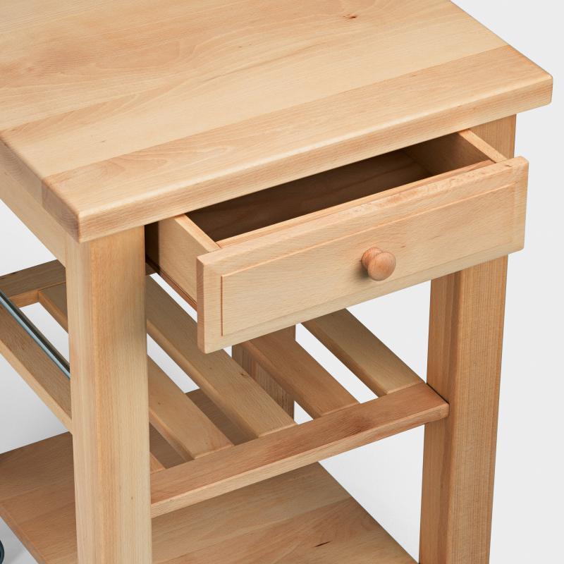 Küchenwagen mit 3 Weidenkörben aus Buchen-Holz - Biber.com