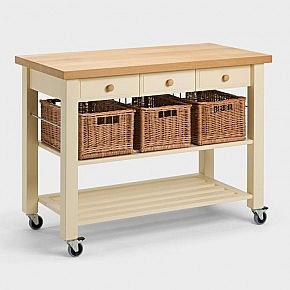 Küchenwagen aus Holz mit Weidenkorb - Biber.com