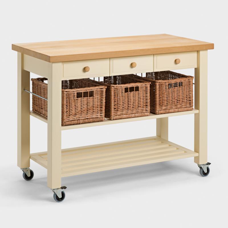 Küchenwagen schmal  Küchenwagen mit 3 Weidenkörben aus Buchen-Holz - Biber.com
