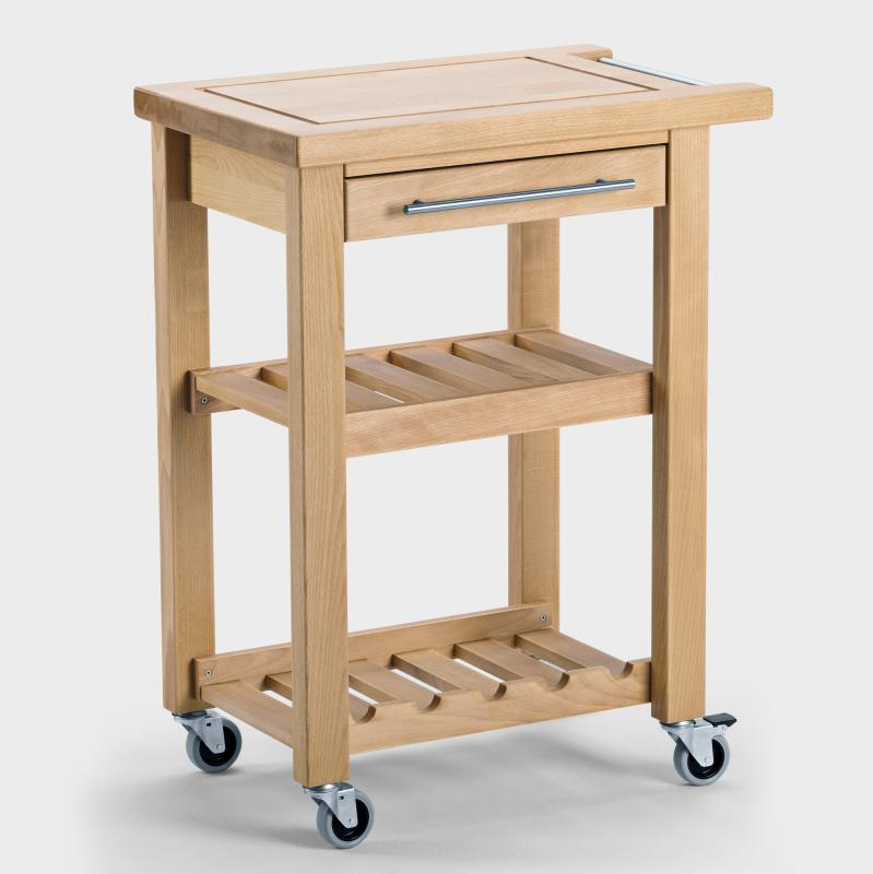 Küchenwagen schmal aus Holz - Biber.com
