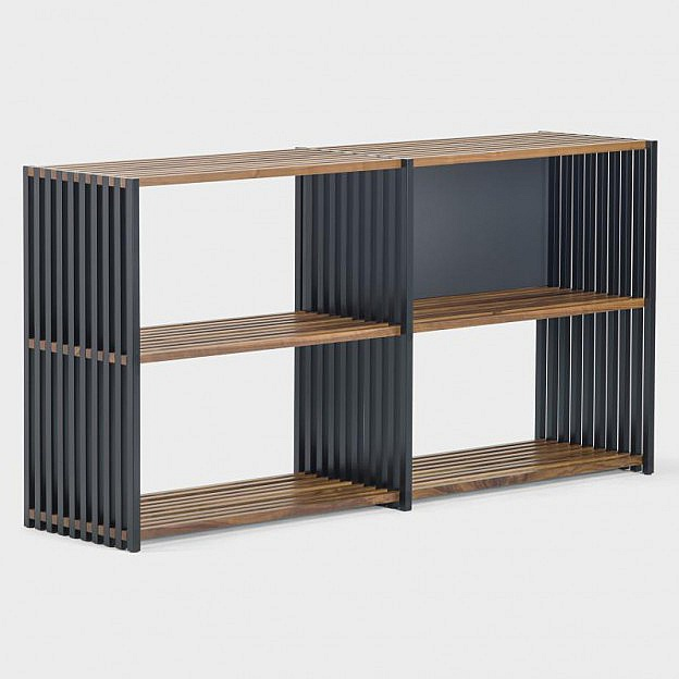 faltbares sideboard walnuss schwarz. Black Bedroom Furniture Sets. Home Design Ideas