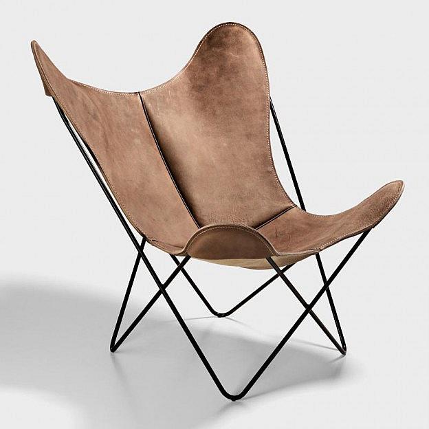 Hardoy Butterfly Chair Blankleder Vintage Biber