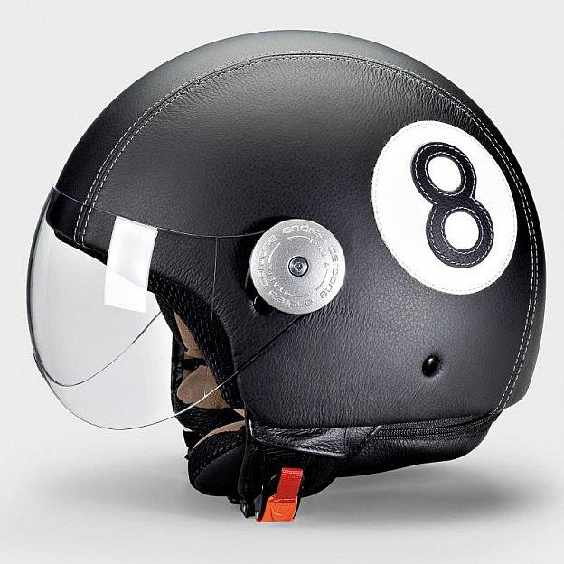 Leder-Motorradhelm, schwarz