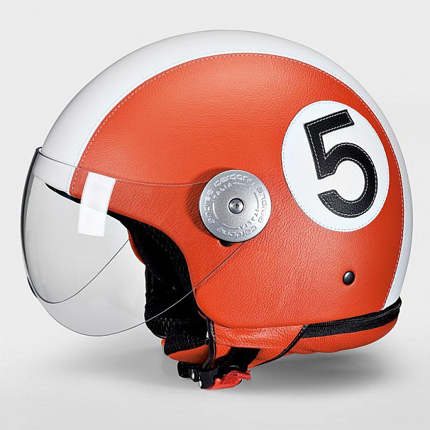 Leder-Motorradhelm, orange