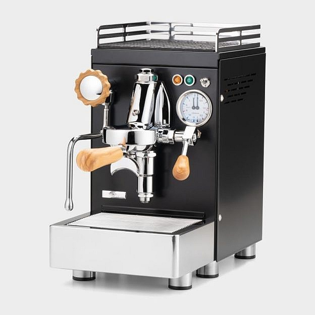 Zweikreis-Espressomaschine, mattschwarz beschichteter Edelstahl, Olivenholz