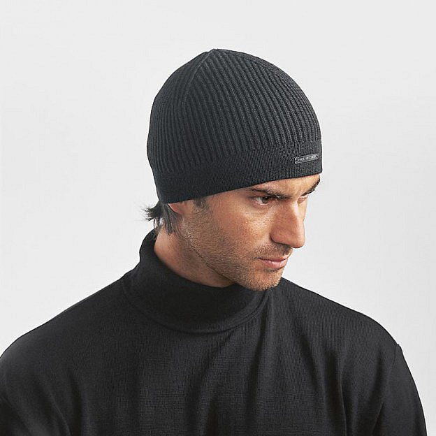 Strickmütze Merinowolle, schwarz