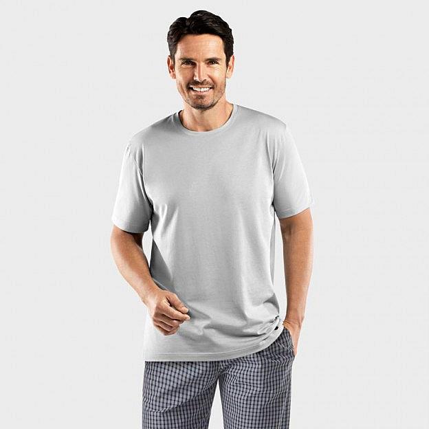 Hanro-Herren-Pyjamashirt Bachelor, kurzarm, grau