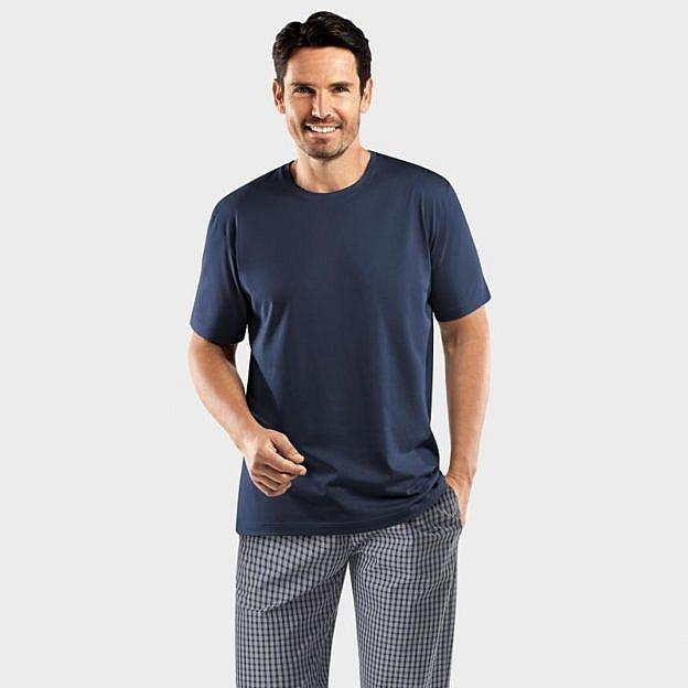 Hanro-Herren-Pyjamashirt Bachelor, kurzarm, navy