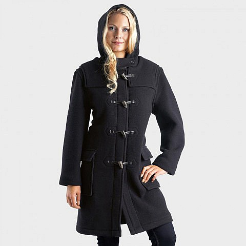A duffel coat, or duffle coat (standard UK spelling), is a coat made from duffel, a coarse, thick, woollen material. The name derives from Duffel, a town in the province of Antwerp in Belgium where the material originated. Duffel bags were originally made from the same material.