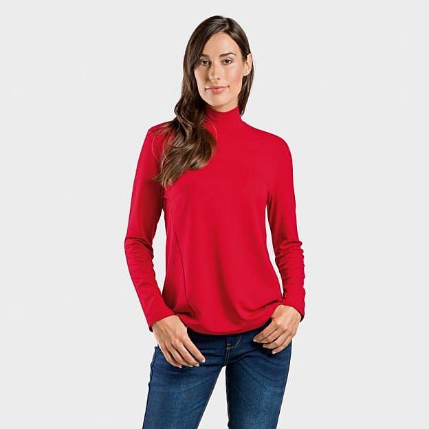 Langarmshirt mit Stehkragen Viskose, rot