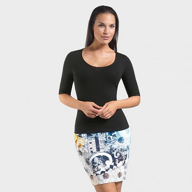 T-Shirt ½-Arm Viskose, schwarz