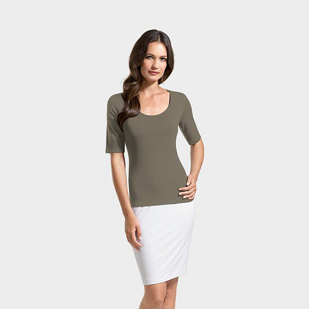 T-Shirt 1/2-Arm Viskose, olive