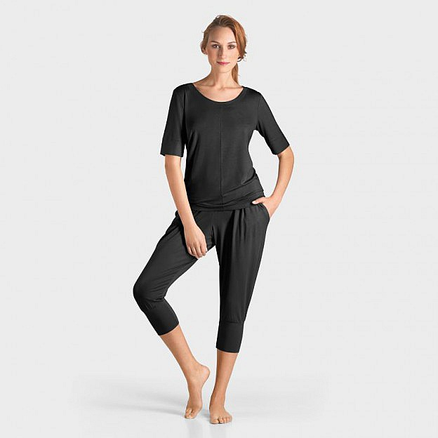 Yoga-T-Shirt ½-Arm Micromodal, schwarz