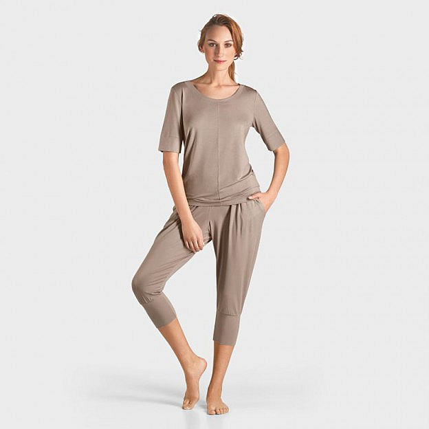 Yoga-T-Shirt ½-Arm Micromodal, taupe