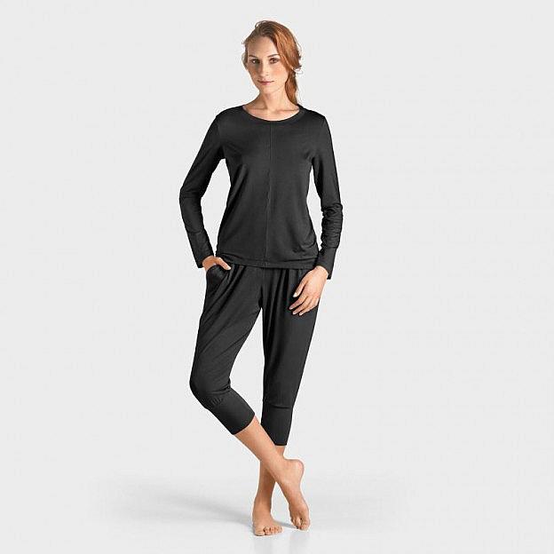Yoga-Shirt langarm Micromodal, schwarz