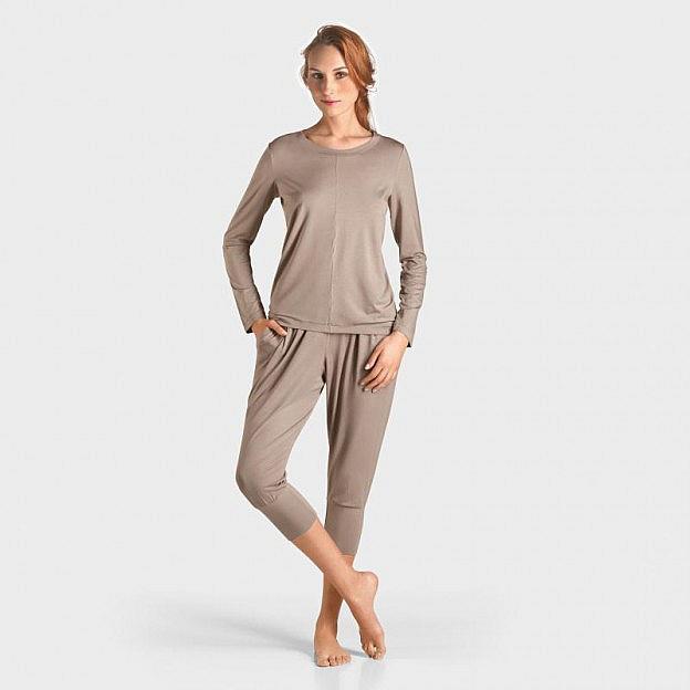 Yoga-Shirt langarm Micromodal, taupe