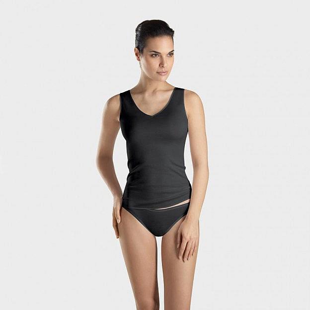 Hanro-Damen-Unterhemd, schwarz