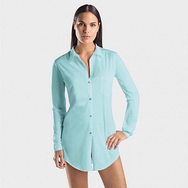 Hanro-Damenschlafhemd mit Knopfleiste, mint