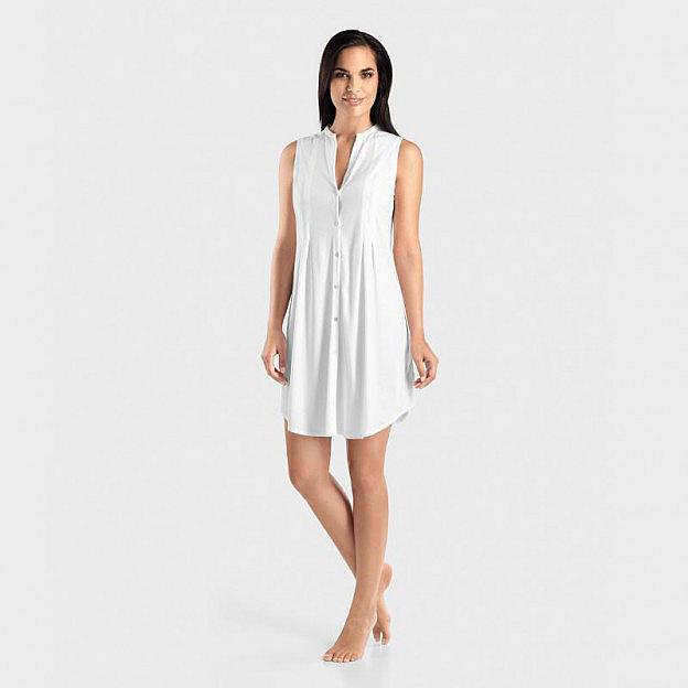 Hanro-Damenschlafkleid Ärmellos Baumwolle, weiß