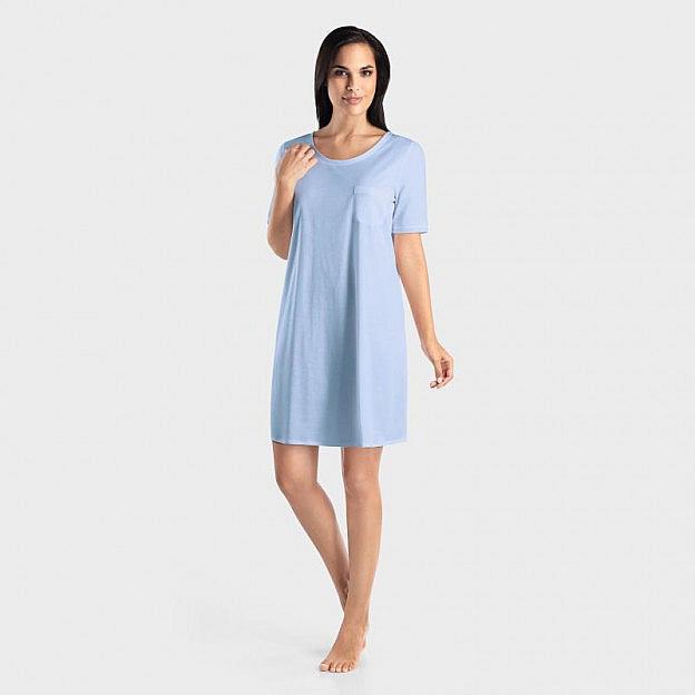 Hanro-Damenschlafkleid Kurzarm Baumwolle, blau