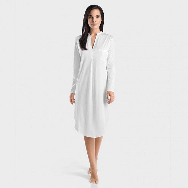 Hanro-Damenschlafkleid V-Kragen langarm, weiss