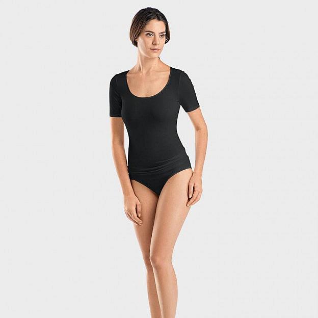 Hanro-Damenshirt 1/2-Arm, Sea Island, schwarz