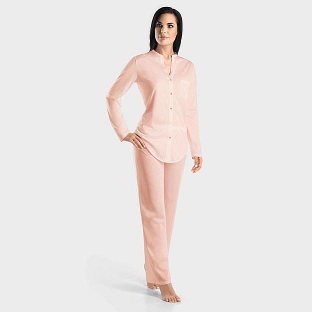 Hanro-Damenpyjama mit Knopfleiste langarm, rosa