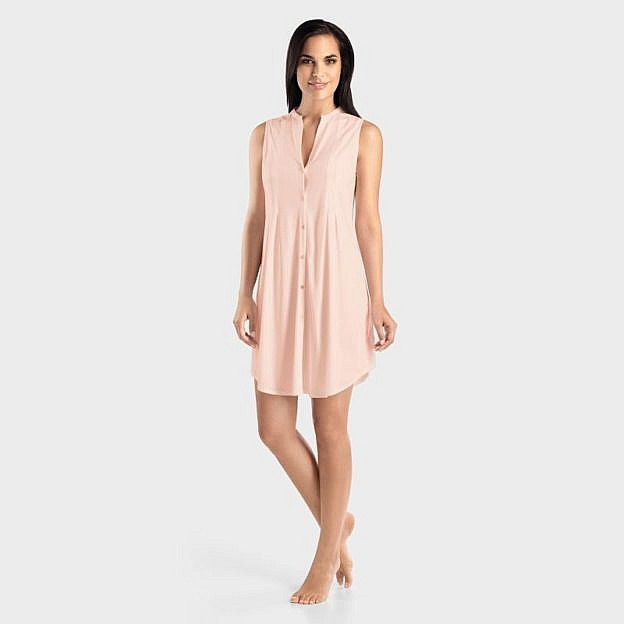 Hanro-Damenschlafkleid ärmellos Baumwolle, rosa