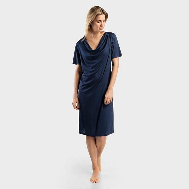 Damen-Schlafkleid kurzarm mit Wasserfallkragen, blau