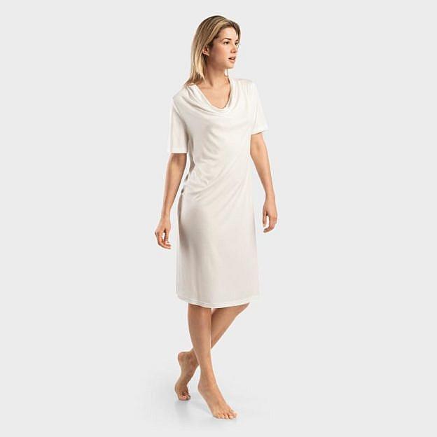 Damen-Schlafkleid kurzarm mit Wasserfallkragen, weiß