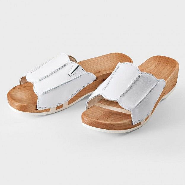 Damen-Holzschuh weiss, flexible Holzsohle