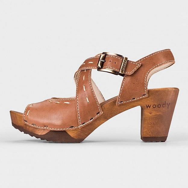 Damen Holzschuh Ziegenleder, flexible Holzsohle