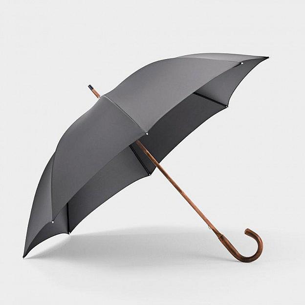 Doppel-Regenschirm Vollholzstock, schwarz