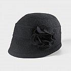Damenhut Cloche Blume, schwarz