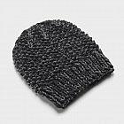 Handstrickmütze Merinowolle, schwarz-grau meliert