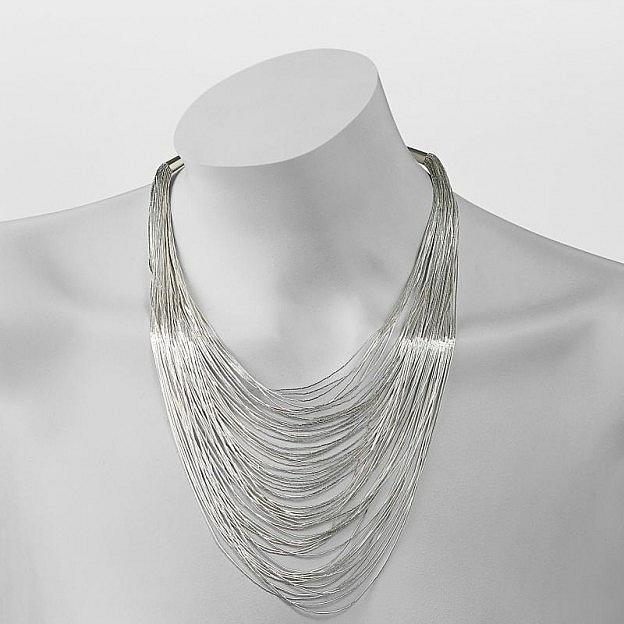Halskette mit 60 Strängen Sterlingsilber 925, verjüngt